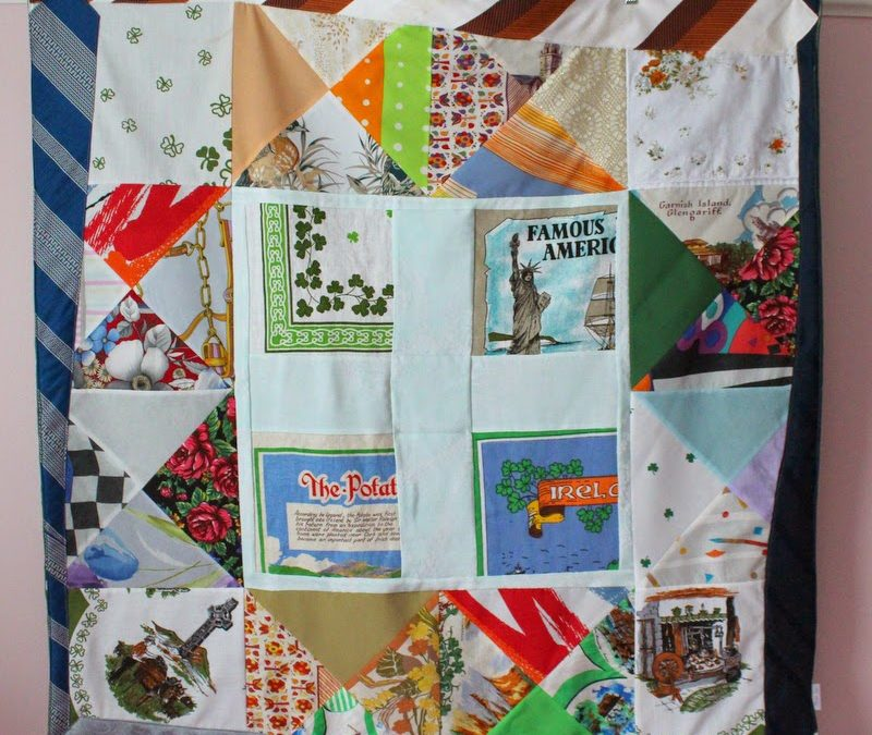 When Irish Eyes Are Smiling – A Memory Quilt Made from Ties, Scarves and Linens