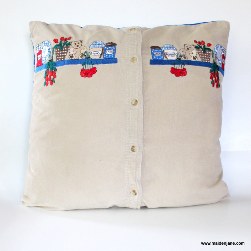 Button down memory pillow diy tutorial