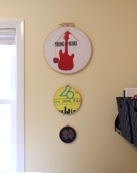 DIY T Shirt Embroidery Hoop Wall Decor