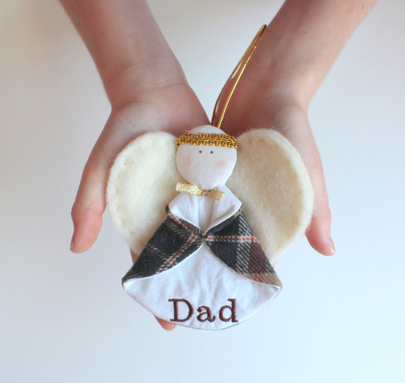 Rembering a Father with a Memory Angel Ornament