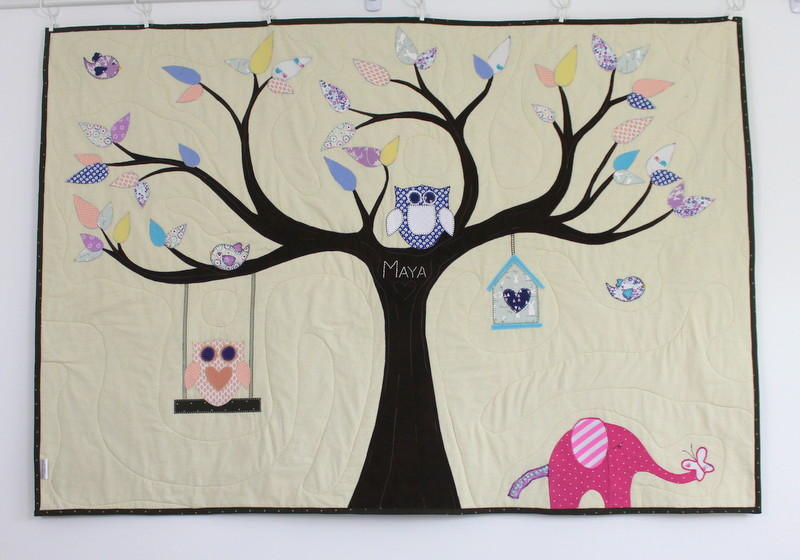Quilted Wall Hanging Made from Baby Clothes